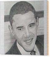 Obama Wood Print by Felipe Galindo