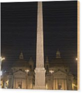 Obelisco Flaminio And Twin Churches By Night Wood Print