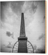 Obelisk And Big Wheel At Place De La Concorde, Paris Wood Print