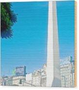 Obelisk On July Nine Avenue In Buenos Aires-argentina Wood Print
