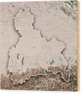 Oberbayern Regierungsbezirk Bayern 3d Render Topographic Map Neu Wood Print
