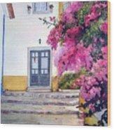 Obidos And Bougainvilla Wood Print