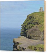 O'brien's Tower Along The Cliff's Of Moher In Ireland Wood Print