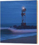 Ocean City Dawn Surf Wood Print