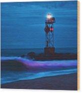 Ocean City Dawn Surf Painted Wood Print