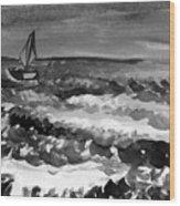 Ocean Back And White Wood Print
