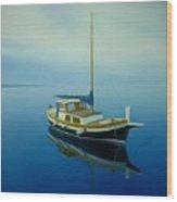 Coastal Wall Art, Ocean Blue, Fishing Boat Paintings Wood Print