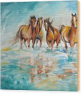 Ocean Breeze Wild Horses Wood Print
