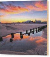 Ocean City Afterglow Wood Print