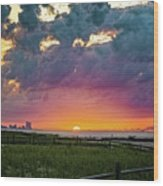 Ocean City Cloudy Sunrise Wood Print