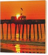 Ocean City Sunrise Wood Print