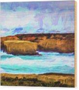 Ocean Cliffs Wood Print
