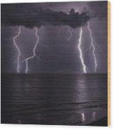 Ocean Fireworks Wood Print
