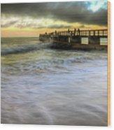 Ocean Fishing Pier Sunrise Wood Print
