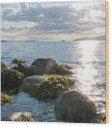 Ocean Flickering Under Sunset Wood Print