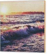 Ocean Landscape Sunrise Wood Print
