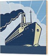 Ocean Liner Boat Wood Print