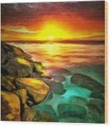 Ocean Lit In Ambiance Wood Print