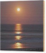 Ocean Moon In Pastels Wood Print by DigiArt Diaries by Vicky B Fuller