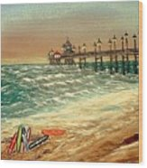 Ocean Pier Wood Print by Kenneth  LePoidevin