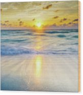 Ocean Reflections At Sunrise Wood Print
