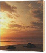 Ocean Side Sunset Wood Print