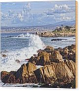 Ocean Spray In Monterey Wood Print