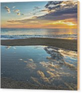 Ocean Sunrise Reflection Wood Print