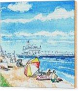Ocean View Beach Wood Print