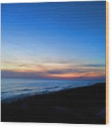 Ocean View Of Sunset On The Beach At Cape San Blas, Florida Wood Print