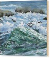 Ocean Waves And Pelicans Wood Print