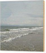 Ocean Waves At Sunrise Wood Print