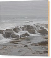 Ocean Waves Over Rocks Wood Print