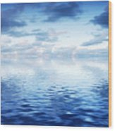 Ocean With Calm Waves Background With Dramatic Sky Wood Print