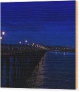 Oceanside Pier Night Image Wood Print