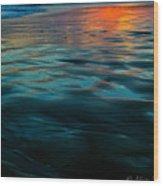 Oceanside Reflective Sunset Wood Print