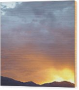 Ochre Mountains Stormy Sunset  Wood Print