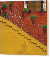 Ochre Staircase With Red Wall 2 Wood Print