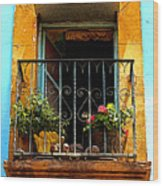 Ochre Window In Turqoise Wood Print by Mexicolors Art Photography