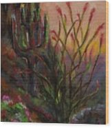 Ocotillo At Sunset Wood Print