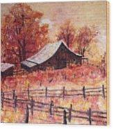October Barn Wood Print
