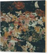 October Flowers By Night Wood Print