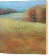 October Grazing Fields Wood Print