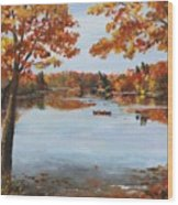 October Morn At Walden Pond Wood Print