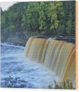 October Morning At Upper Tahquamenon Falls Wood Print