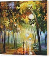 October Reflections - Palette Knife Oil Painting On Canvas By Leonid Afremov Wood Print