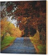 October Road Wood Print by Joyce Kimble Smith