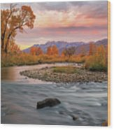 October Sunrise At The Provo River. Wood Print
