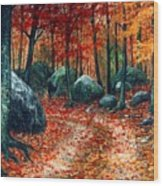 October Woodland Wood Print