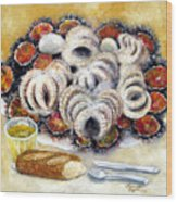 Octupus And Sea Urchins Dinner Wood Print
